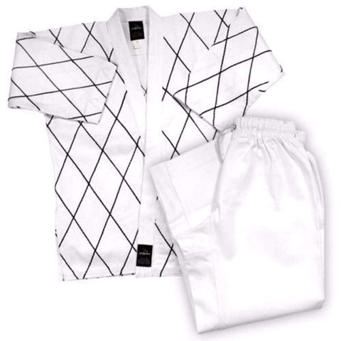 Dynamics 14 oz Hapkido Uniform - White with Black - BlackBeltShop