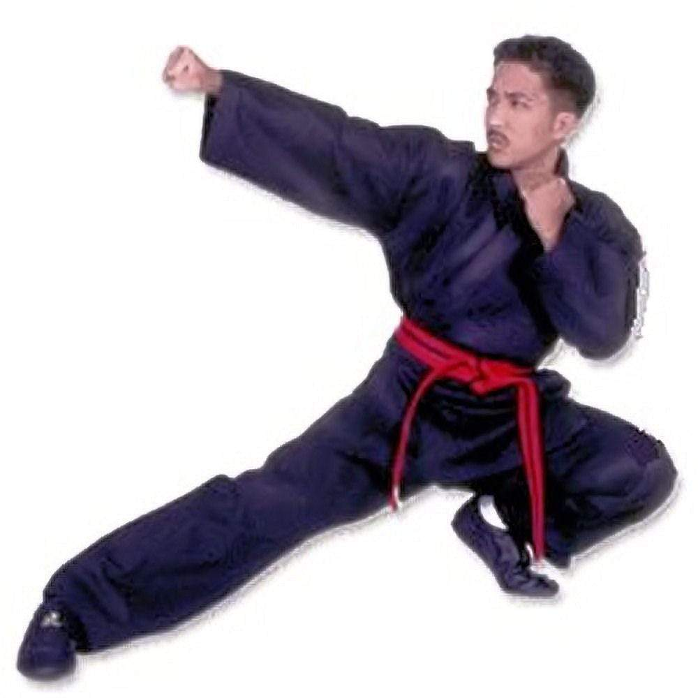 Middle Weight Black Poly/Cotton Martial Arts Karate Uniform