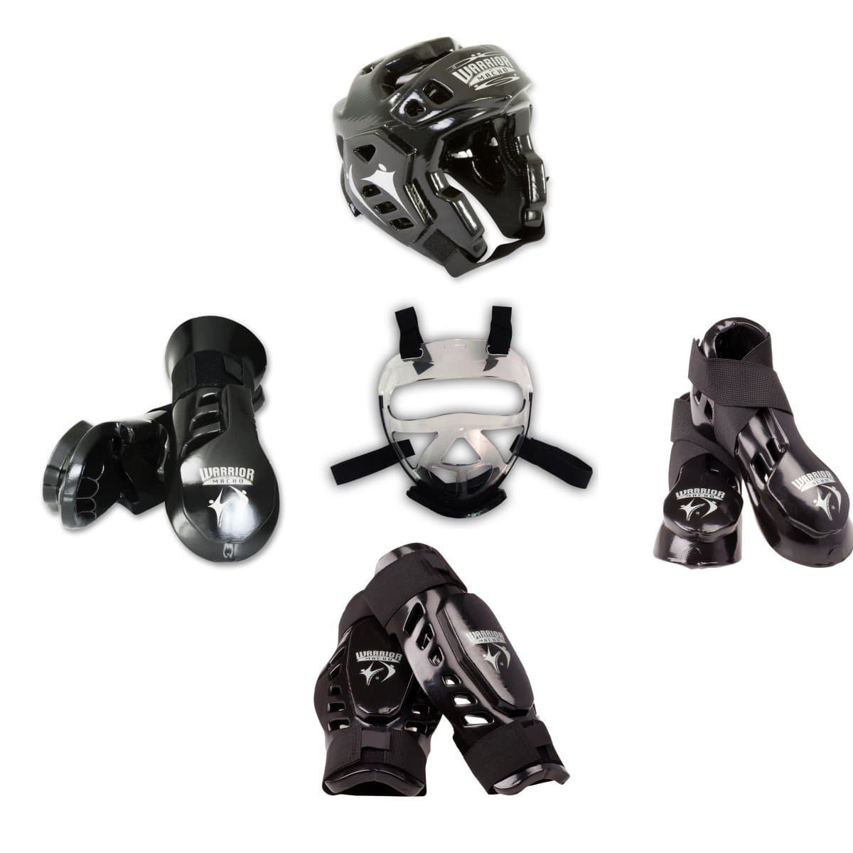 black Macho Warrior 8 piece sparring gear set with Shin and FaceShield