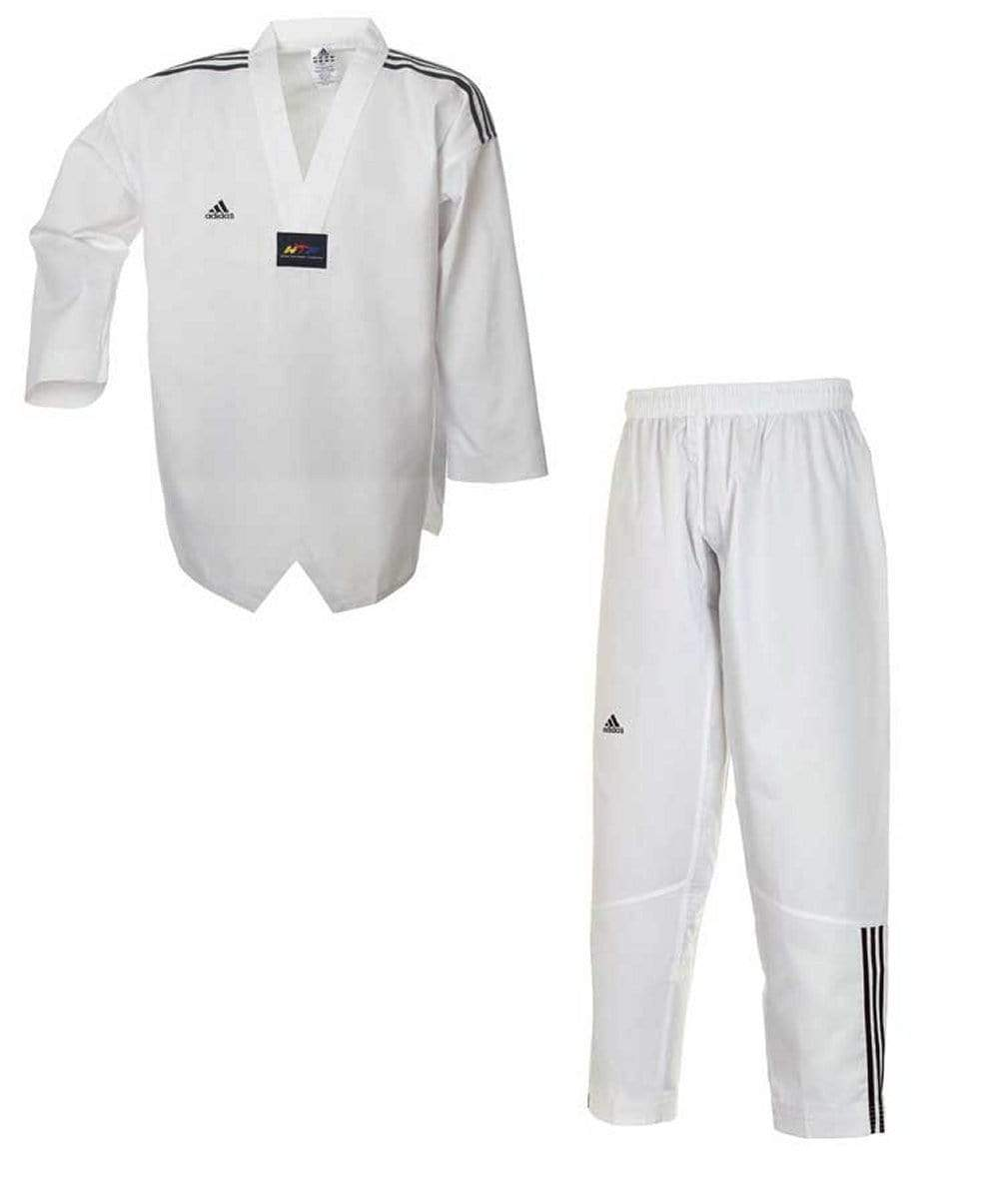 white ADI CLUB TKD UNIFORM WITH 3 STRIPES