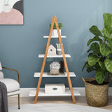 "Free shipping Ladder Shelf Bookcase, Bamboo Ladder Shelving Unit, Plant Stand, Wood Oxford ""A"" Frame Ladder Display Bookshelf (4 Tiers)"