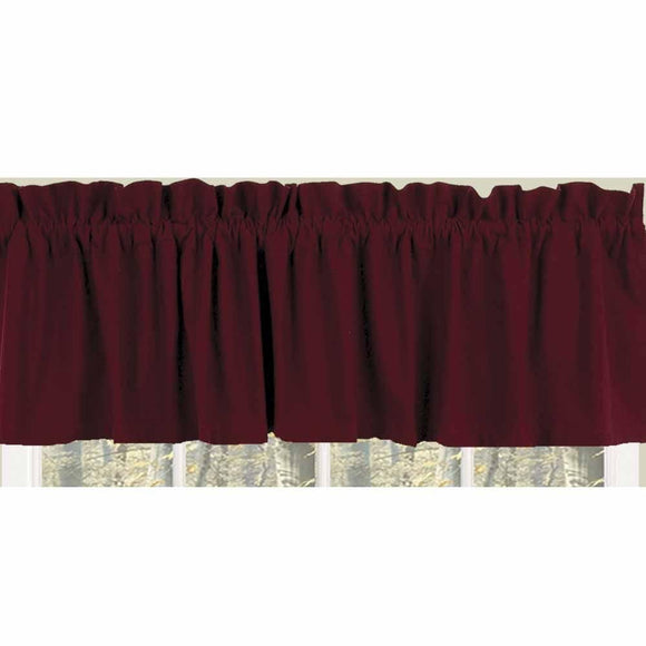 Barn Red Farm House Solid Valance - Lined