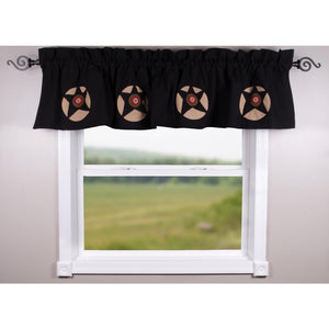 Black Homespun Star Valance - Lined