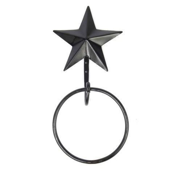 Black Star Towel Ring Metal