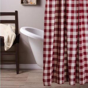Barn Red-Buttermilk Buffalo Check Shower Curtain