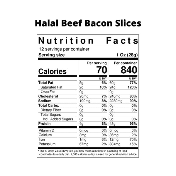Halal Beef Bacon Slices - Boxed Halal