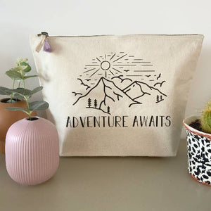 Adventure Awaits Large Cream Pouch