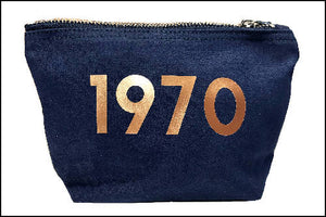 Personalised Year Bag - Cotton Accessory Pouch -Makeup Bag