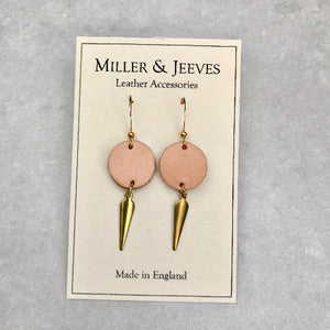 Midi Earrings - Plain Leather with Brass Charm