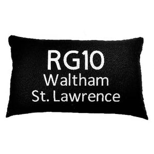 Postcode Cushion - 50x30cm Cotton Cushion Personalised With Your Choice of Postcode and Town Name