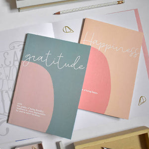 Set of 2 Slim Notebooks Gratitude & Happiness - lined pages