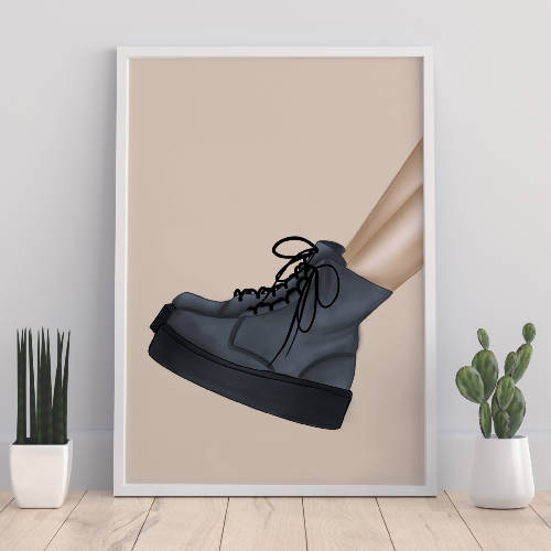 Blue Combat Boots Fashion Print