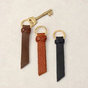 Kingsbury Leather Keyring with Plait Detail