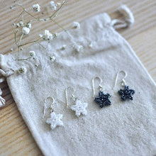 Load image into Gallery viewer, Tiny Beaded Star Earrings in Sterling Silver - Black or White
