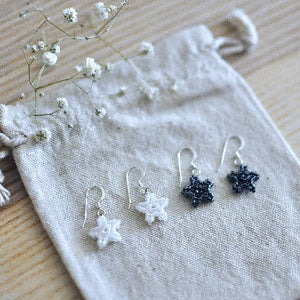 Tiny Beaded Star Earrings in Sterling Silver - Black or White