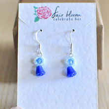 Load image into Gallery viewer, Minimalist Bluebell Earrings - Blue Spring Flower Jewellery