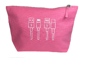 Cables Tidy Bag - Cotton Accessory Pouch -Makeup Bag