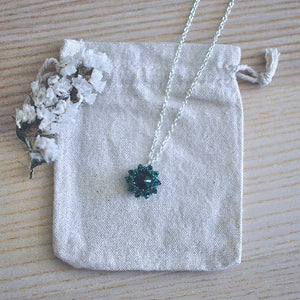 Emerald Crystal Pendant Necklace in Sterling Silver