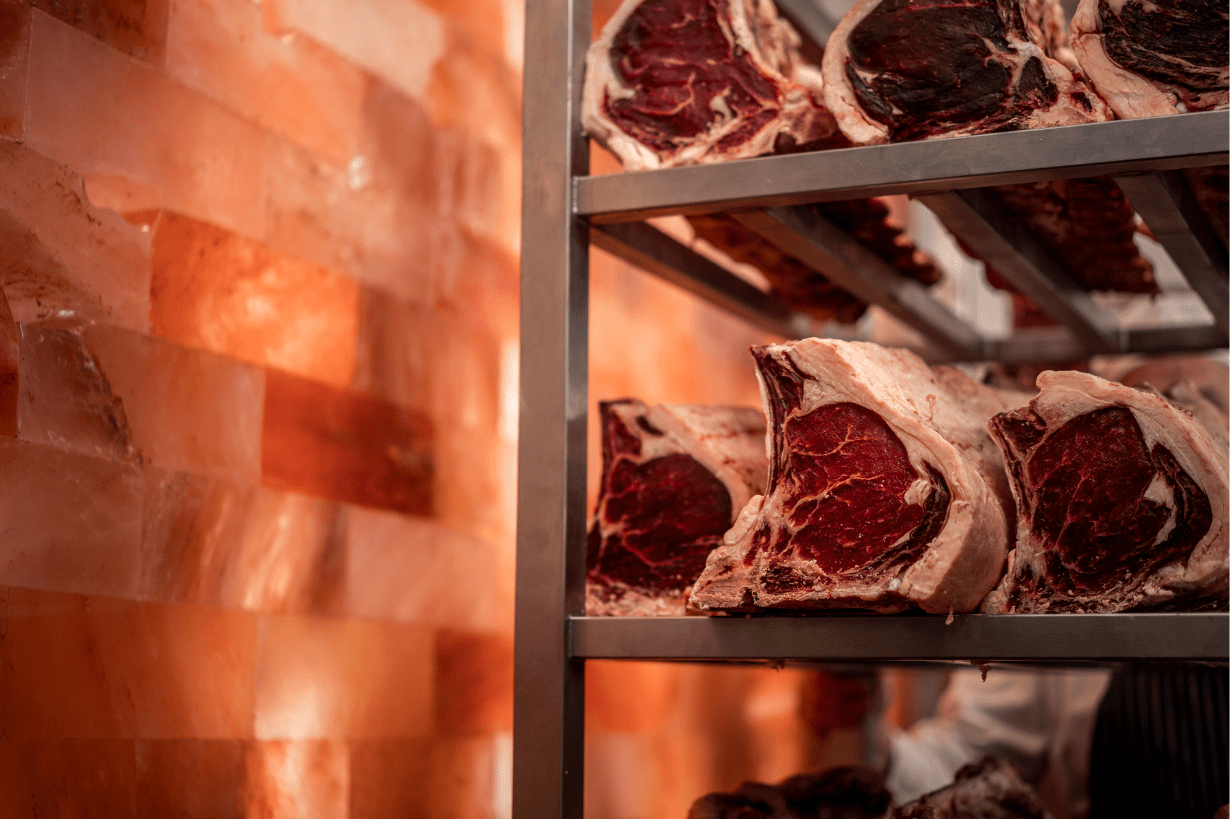 Beef Dry aged with himalayan salt wall