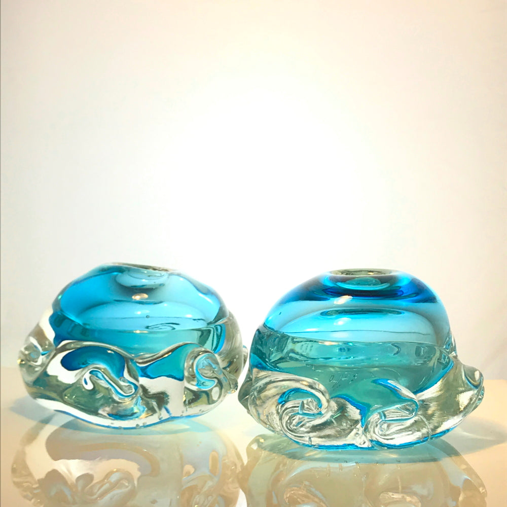 Pair of Aqua Wave Glass Candlesticks by Alison Vincent