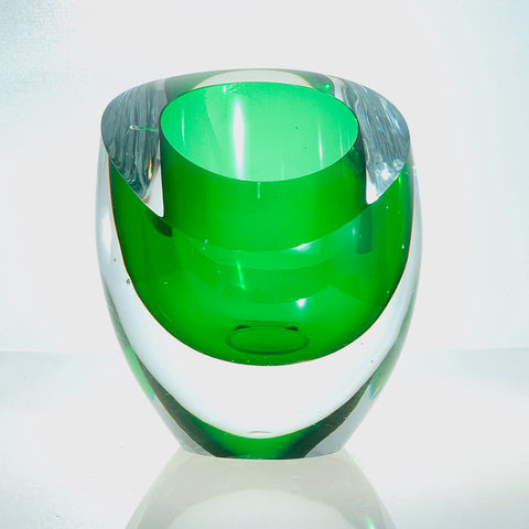 Emerald Gem Curved Polished Edge Glass Vase by Alison Vincent