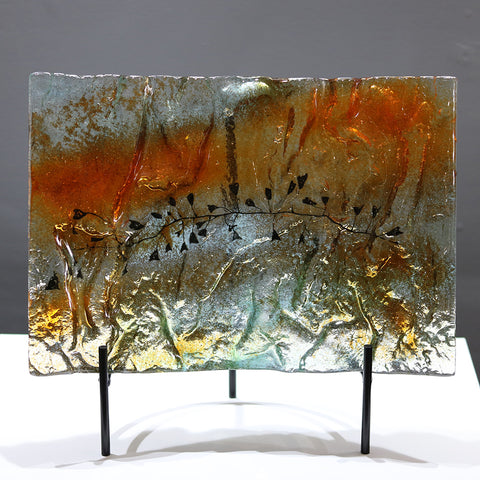 Autumn Leaves Glass Platter / Standing Curve
