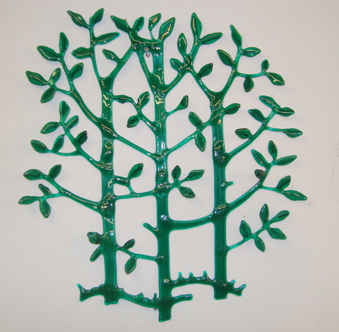 Green Foliage - fused glass wall hanging by Tlws Johnson