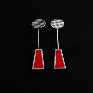 Dangly red enamelled earrings made by Cathy Timbrell