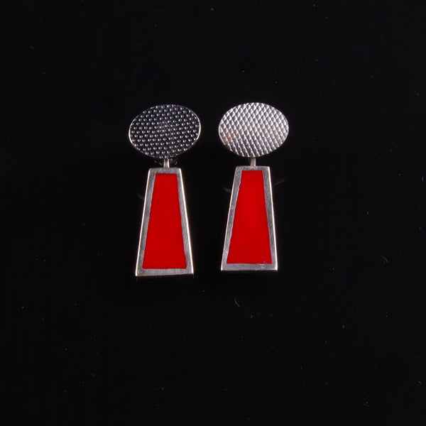 Red enamelled and oxidised silver dangly earrings