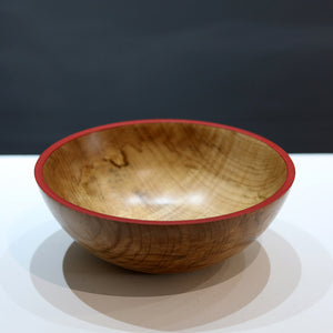 Wooden Bowl with Red Rim by Rosemary Wright