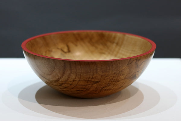 Wooden Bowl with Red Rim