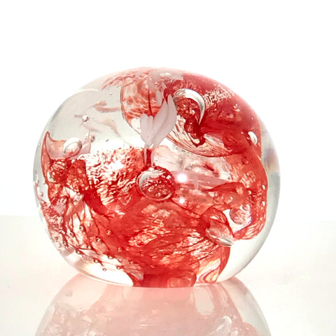 Red & White Swirl Glass Sculpture