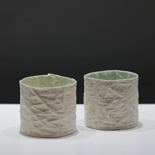 Frost Texture Porcelain Tealights by Susan Day