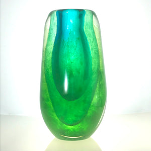 Seascape Target Tall Glass Vase in Teal, Jade and Spring Green by Alison Vincent