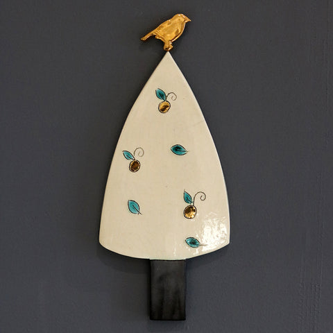 Golden Bird on Cream Tree Ceramic Hanging by Sophie Smith