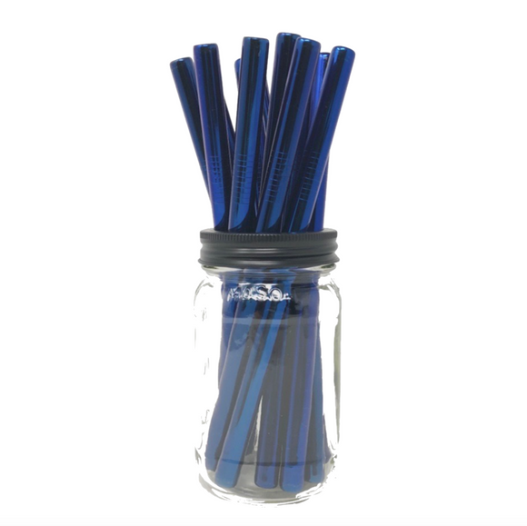 Thick Smoothie BLUE Stainless Steel Straws