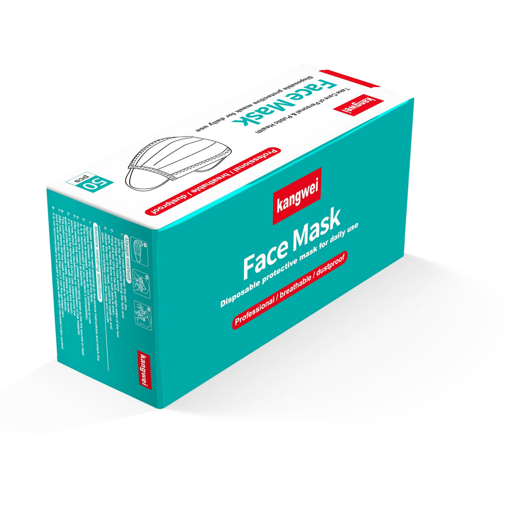 Disposable 3-Ply Face Mask, 50 Pack