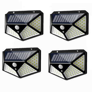 4pcs 100 LED Solar Powered PIR Motion Sensor Wall Light Outdoor Garden Lamp 3 Modes
