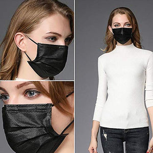 50PCS 3 ply black disposable face shield filter protection breathable dust proof