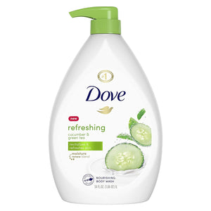 Dove go fresh Refreshing Body Wash with Pump Revitalizes and Refreshes Skin Cucumber and Green Tea Effectively Washes Away Bacteria While Nourishing Your Skin 34 oz