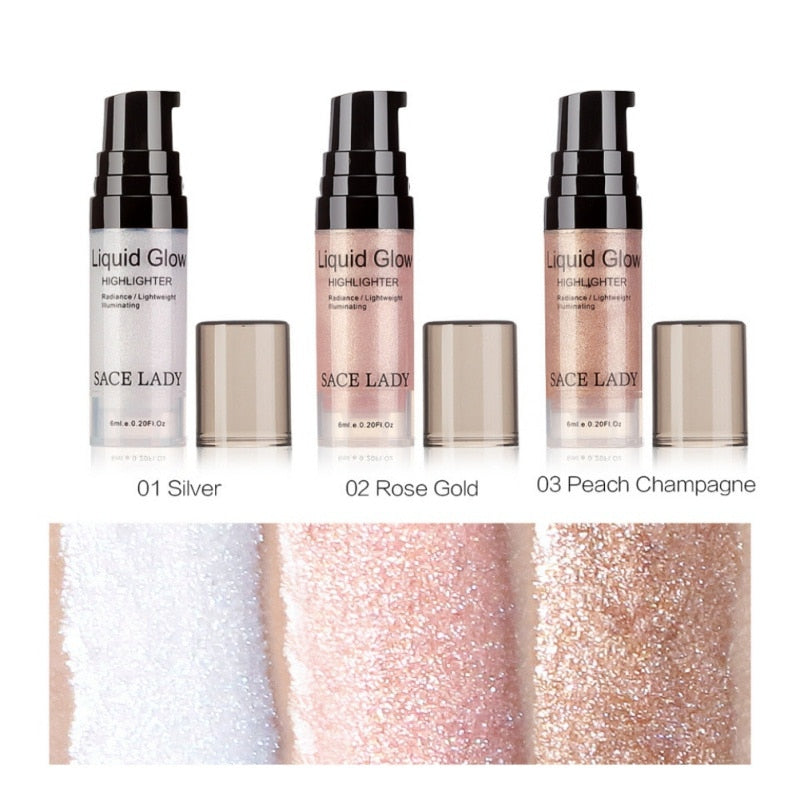 Blind Ship 6ml Face Glow Shimmer Liquid Highlighter Waterproof Glitter Brighten Makeup Bronzers & Highlighters