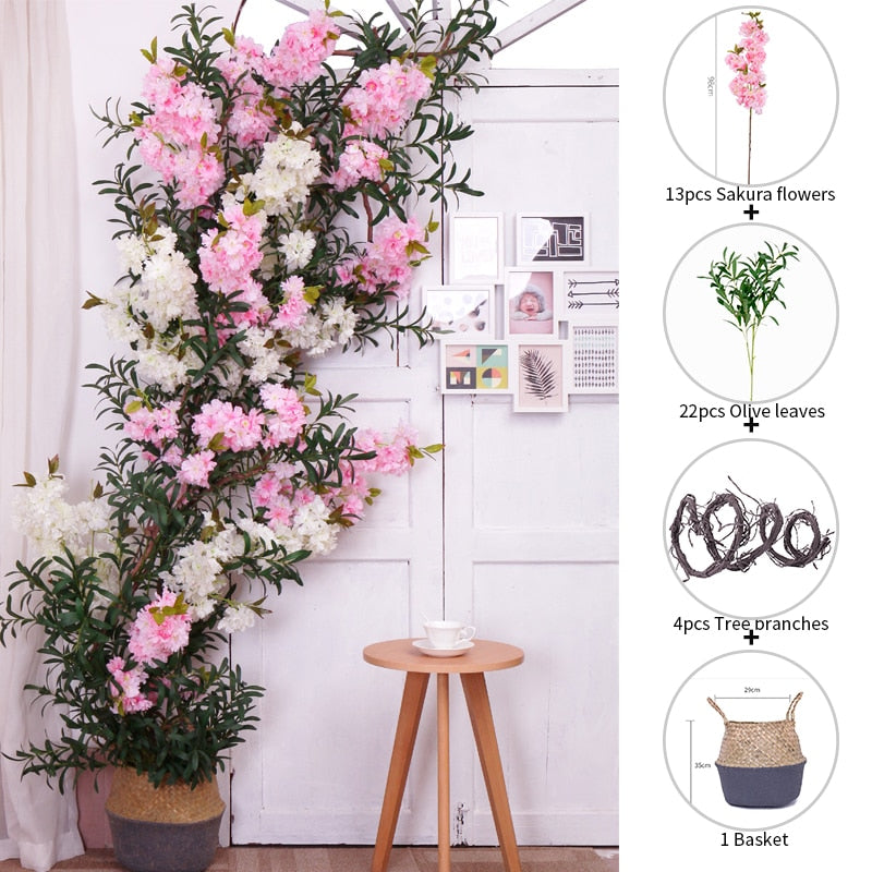 Suit Artificial Cherry Blossom Silk Plants Tree Set Wedding Arch Party DIY Fake Flower Wall Background Flowers Home Decoration