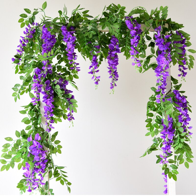170cm Wisteria Artificial Flowers Liana Silk Plants Foliage Wall Hanging Garland Rattan Bride Flower Home Wedding Arch Decor