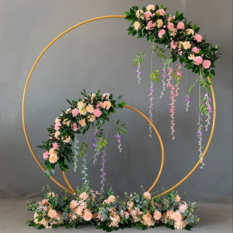 Wedding Decor Props Metal Circle Frame Backdrop Decora Marriage Arch Wrought Iron Shelf DIY Party Decoration Round Flower Stand