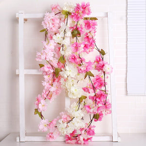 177cm Artificial Cherry Blossom Flower Wall Hanging Wreath Garland Vine Silk Flowers Garland DIY Party Home Wedding Decoration