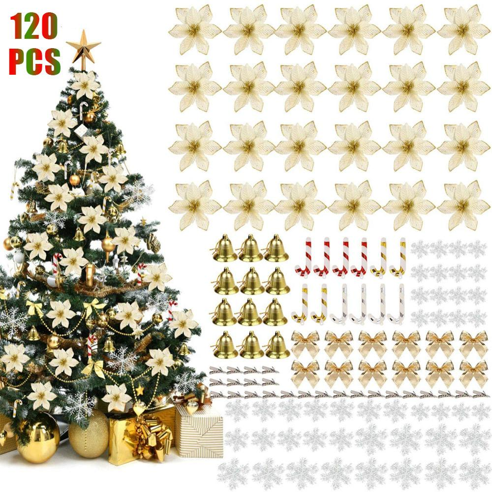 120 pcs Christmas Tree Decoration Pendant Plastic Flower Simulation Flower Set Pendant
