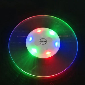 2Pcs Colorful Glow Coaster Led Cup Flash Light Coaster Cup Mat Bar Restaurant Decor Round Bottle Stickers Vase Decor Cup Mat