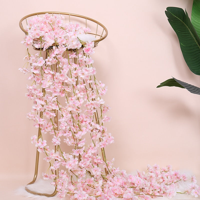 180cm Silk Sakura Cherry Blossom Vine Artificial DIY Rattan Garland Flowers Ivy Wall Hanging Party Home Garden Decoration