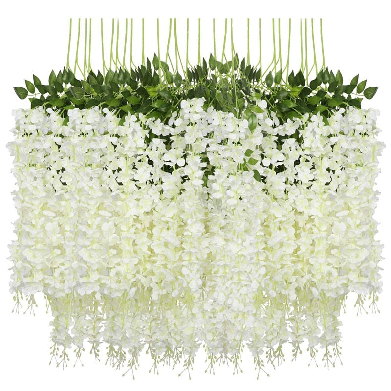 EASY-12 Pack (43.2 FT) Artificial Wisteria Vine Fake Wisteria Hanging Garland Silk Long Hanging Bush Flowers String Home Party W
