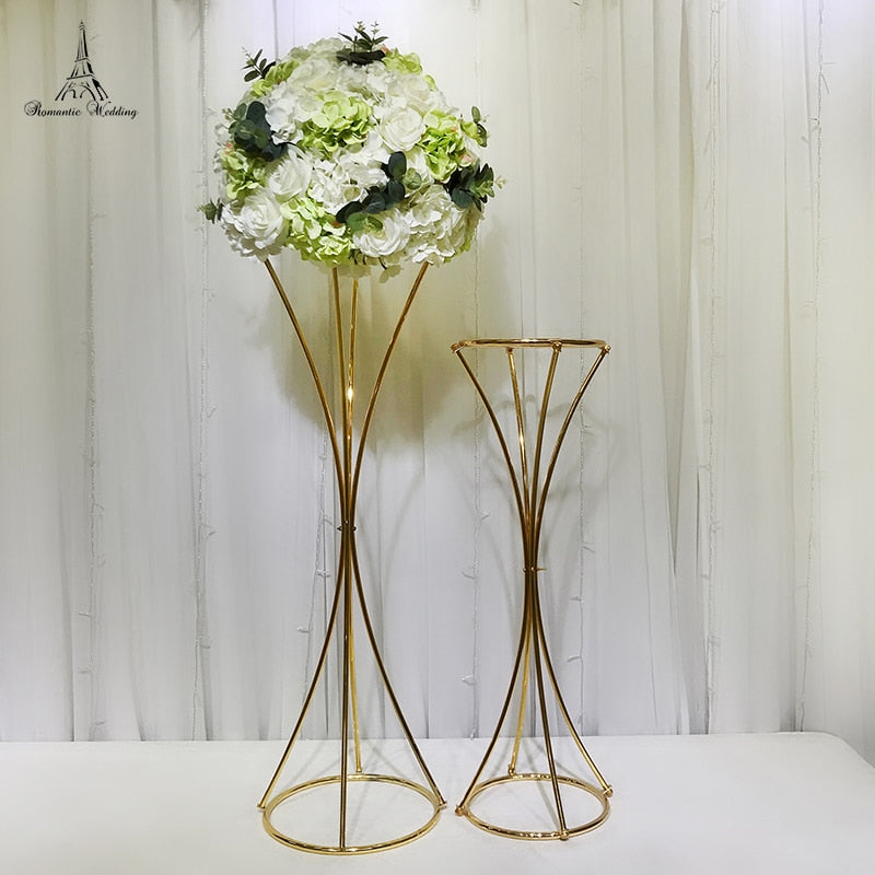 10pcs A lot Metal Golden Flower Stand for Wedding Party Birthday Event Performance Decoration